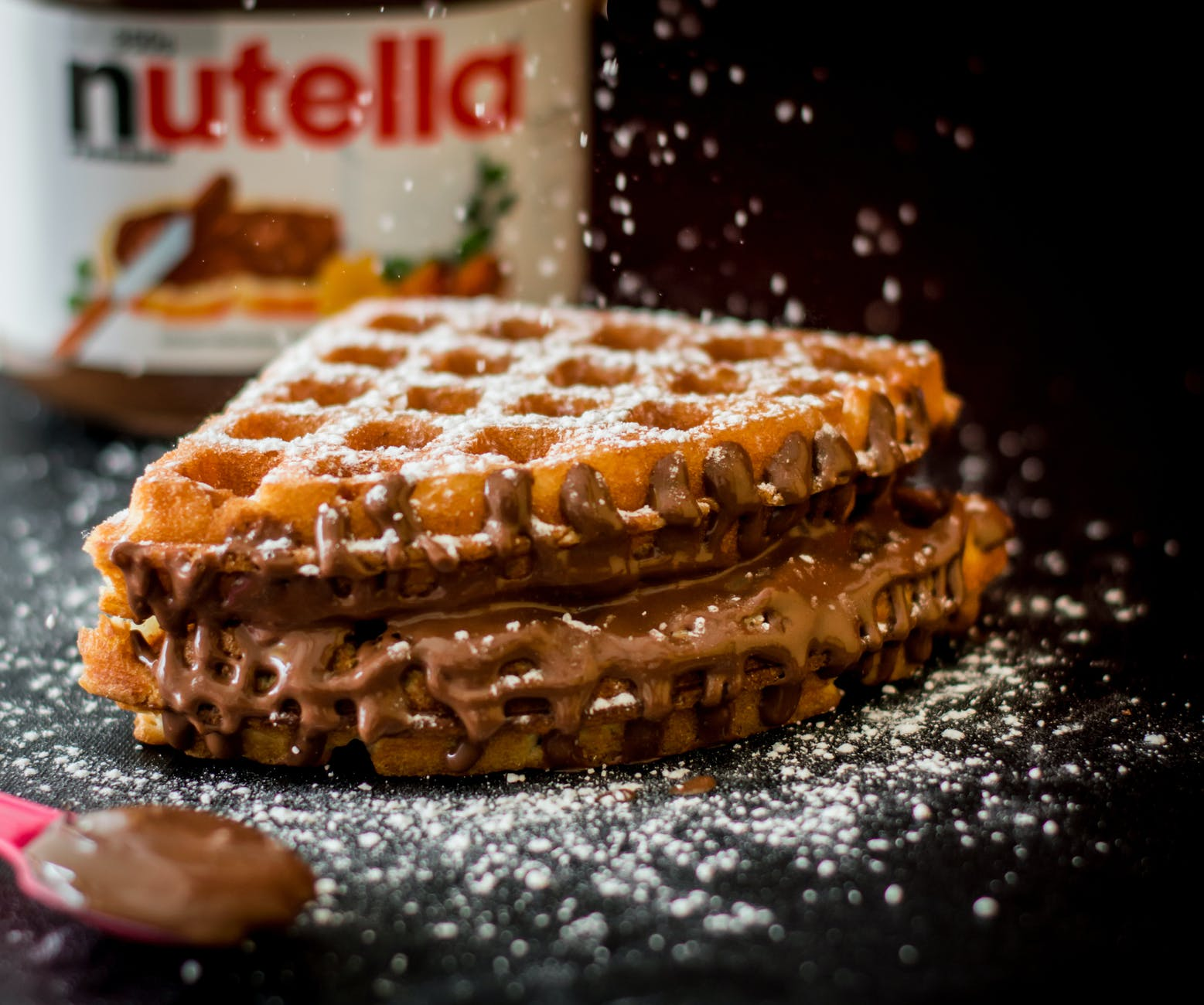 waffle with nutella bottle